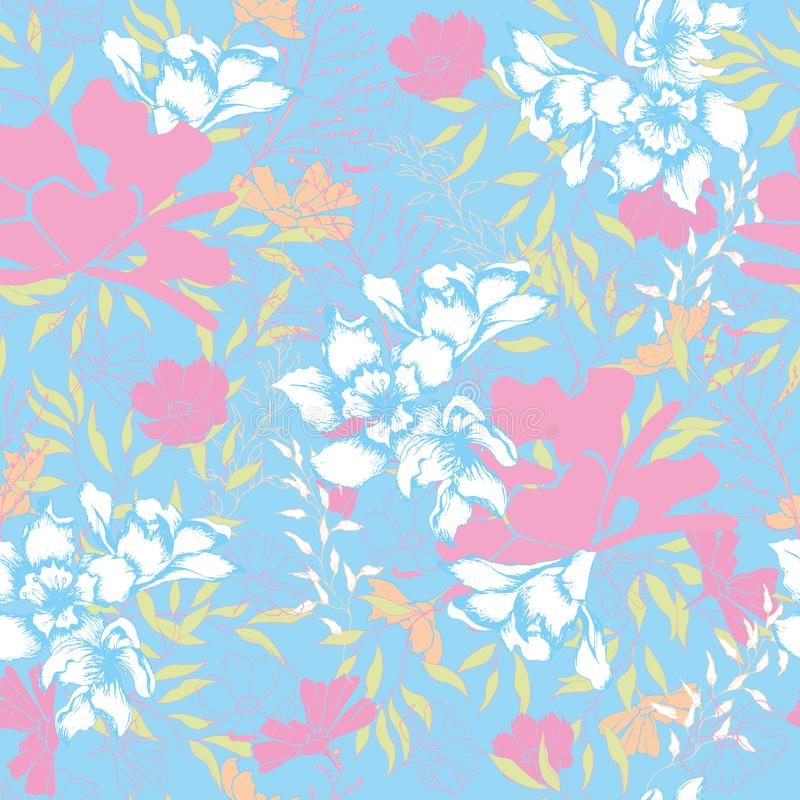 Fundo brilhante das flores e das folhas em um fundo azul Textura floral do vintage para a tela, a telha e o papel e o papel de pa ilustração stock