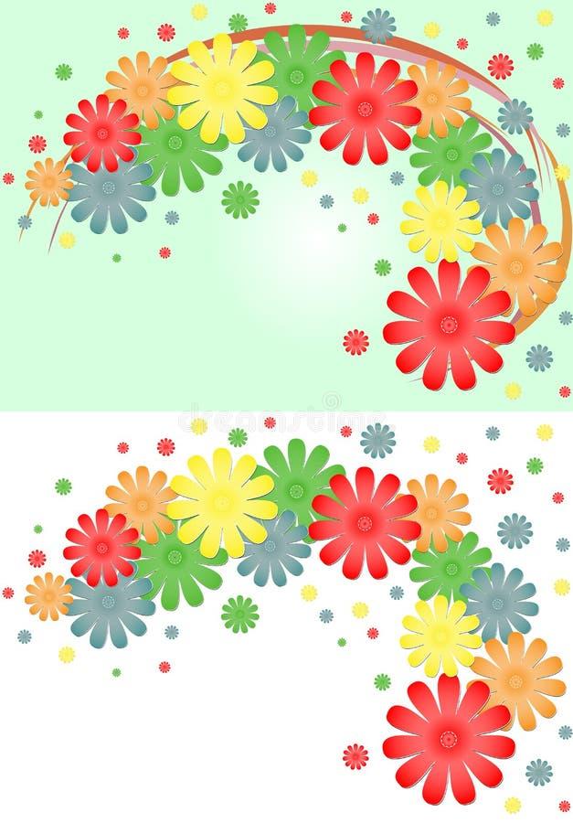Fundo brilhante de flores e de fitas multi-coloridas ilustração royalty free
