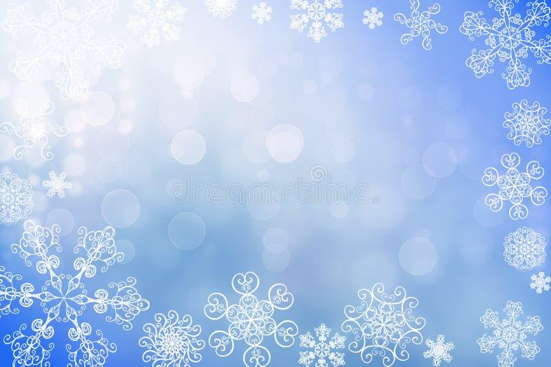 Fundo brilhante do bokeh da neve do inverno do sumário do Natal com flocos de neve originais fotos de stock