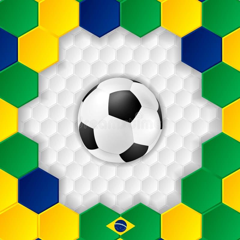 Fundo brilhante do futebol com bola brazilian ilustração royalty free