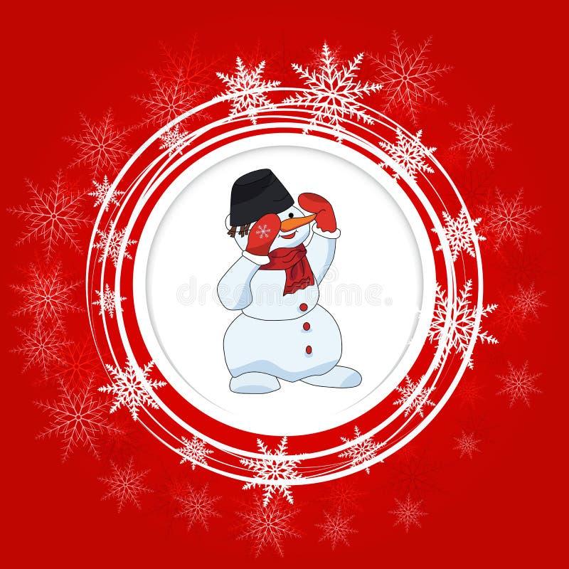 Fundo brilhante do Natal Círculos e flocos de neve brancos do boneco de neve ilustração royalty free