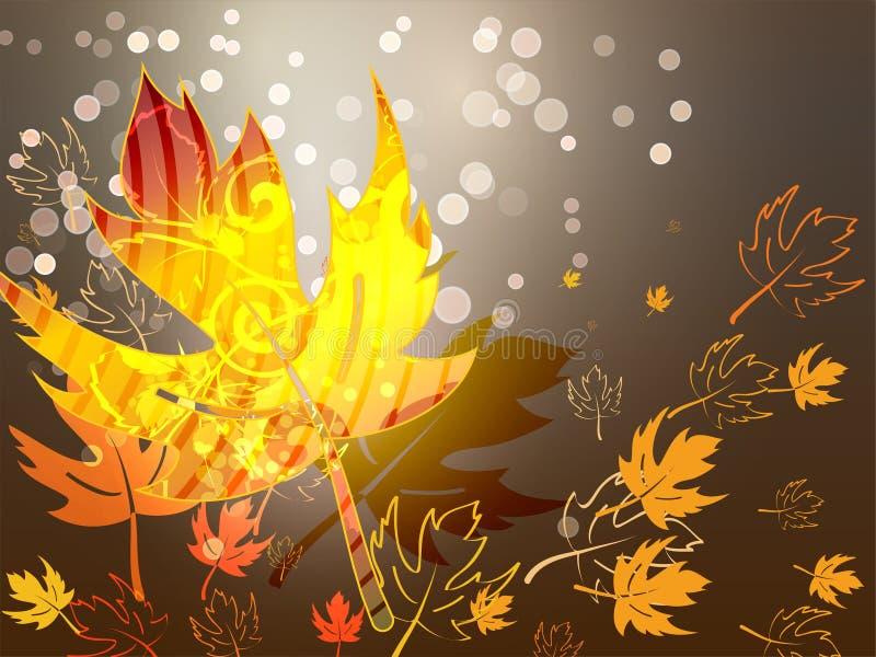 Fundo brilhante do outono com folhas do amarelo e lugar para seu lugar Modo do outono ilustração stock