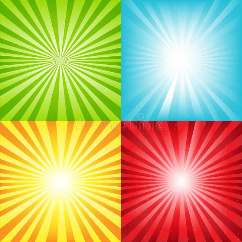 Fundo brilhante do Sunburst com feixes e estrelas ilustração do vetor