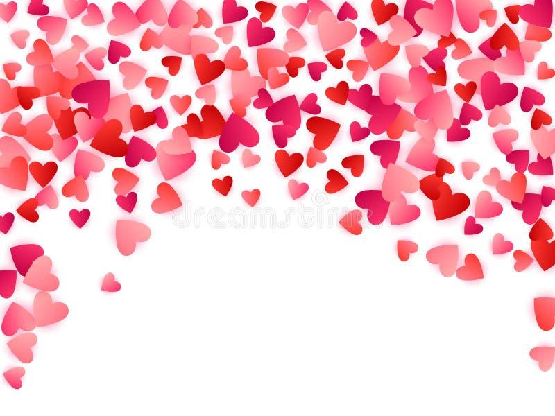 Fundo brilhante do vetor da paixão do amor dos corações vermelhos do voo ilustração do vetor