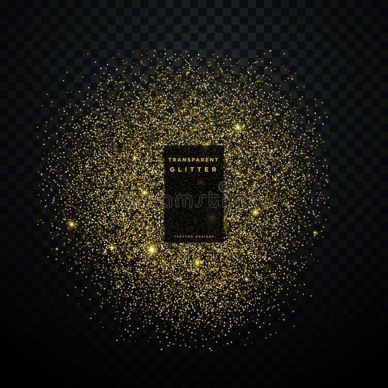 Fundo brilhante dos confetes dos sparkles da explosão do brilho do ouro ilustração do vetor