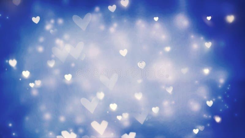 Fundo brilhante dos corações e das luzes do sumário ilustração do vetor