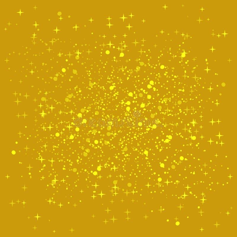 Fundo brilhante dourado Fundo das lantejoulas do ouro A faísca dourada na beira da forma do amor ilustração royalty free