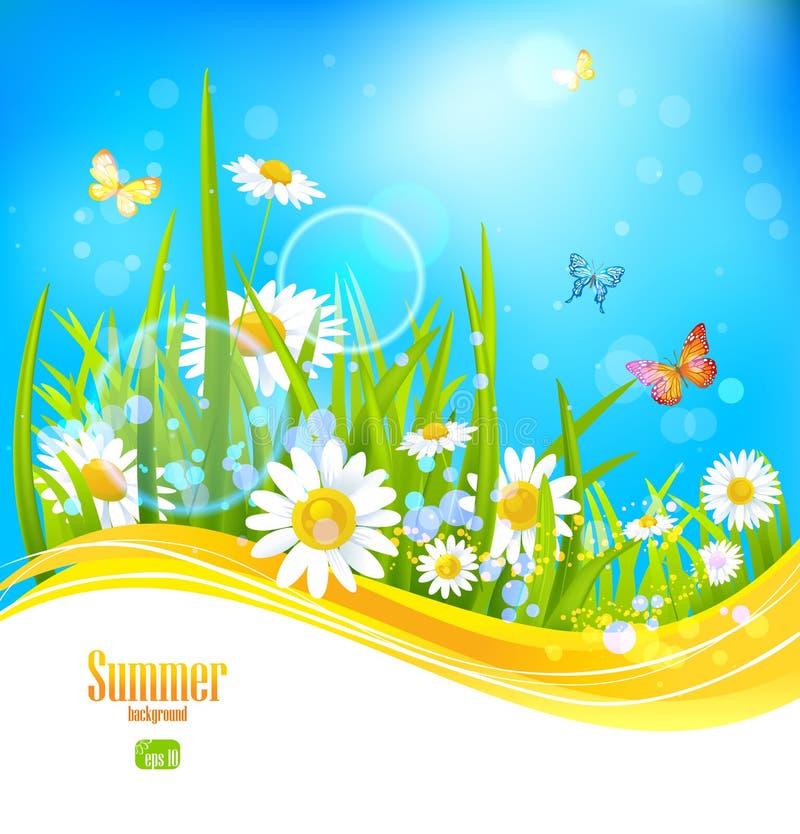 Fundo brilhante ensolarado com céu azul ilustração do vetor