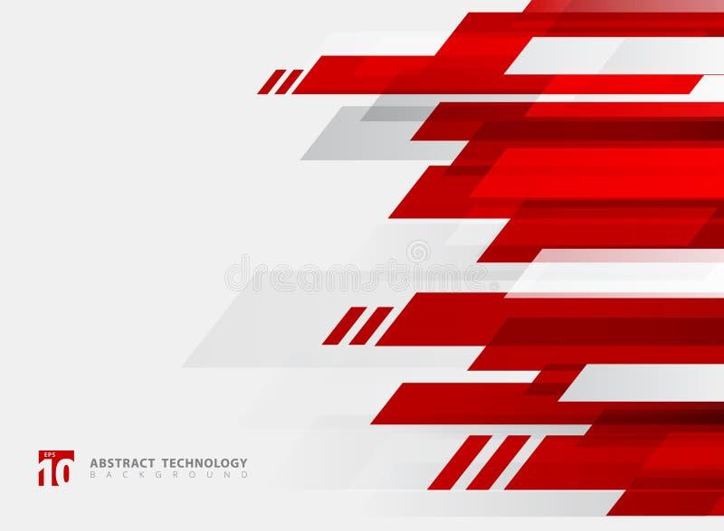Fundo brilhante geométrico do movimento da cor vermelha da tecnologia abstrata ilustração royalty free