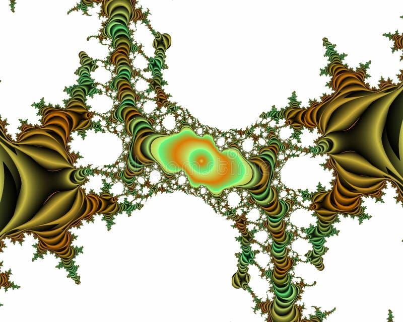 Fundo brilhante verde do sumário do fractal do sumário do ouro, textura florido ilustração royalty free