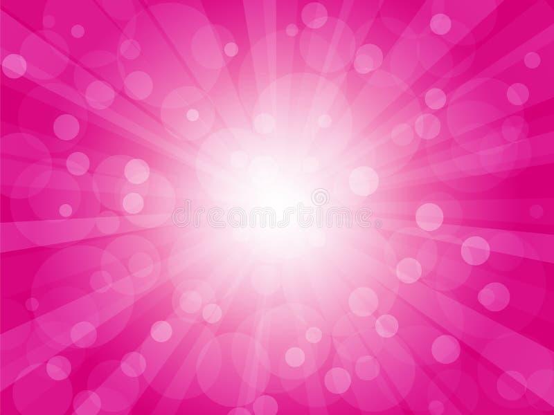 Fundo brilhantemente cor-de-rosa com raios ilustração do vetor