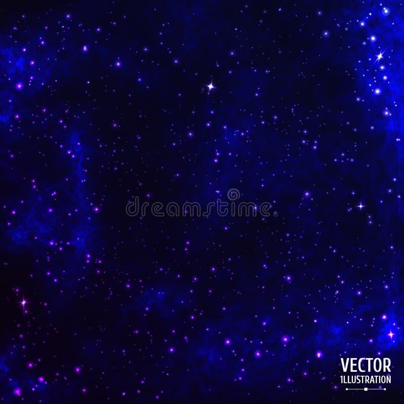 Fundo cósmico colorido da galáxia do espaço com luz ilustração royalty free