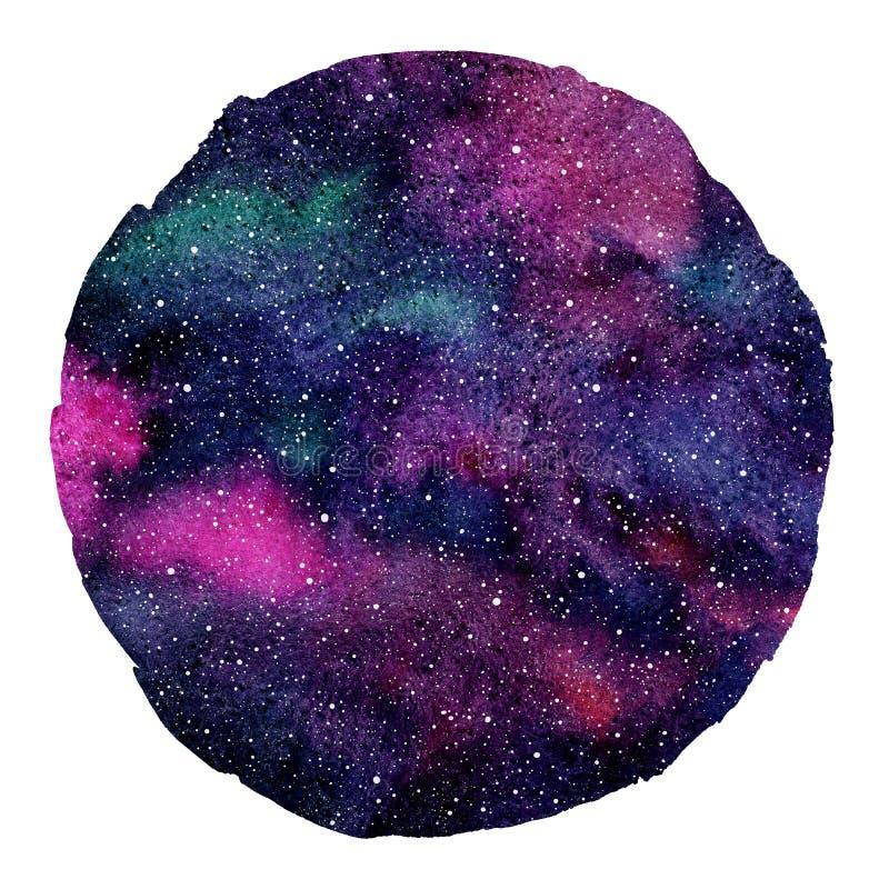 Fundo cósmico colorido redondo, universo colorido da aquarela ilustração royalty free