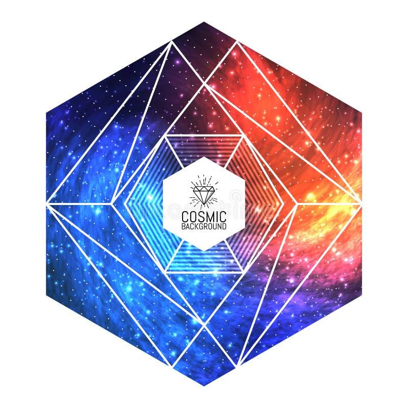 Fundo cósmico colorido triangular do moderno ilustração royalty free