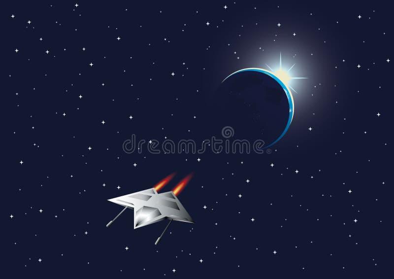 Fundo cósmico com o lutador da terra e do espaço ilustração do vetor