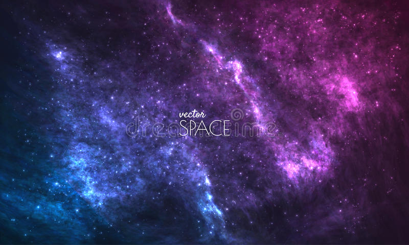 Fundo cósmico da galáxia com nebulosa, stardust e as estrelas de brilho brilhantes Ilustração para seu projeto, artes finalas do  ilustração do vetor