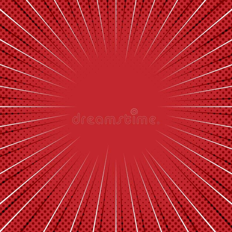 Fundo cômico vermelho com linhas do zumbido e Dots Pattern de intervalo mínimo ilustração do vetor