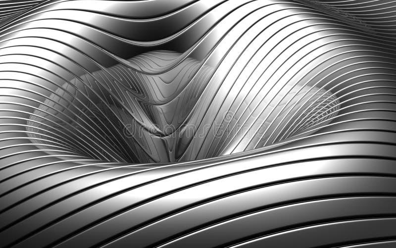 Fundo côncavo de prata abstrato de alumínio ilustração do vetor