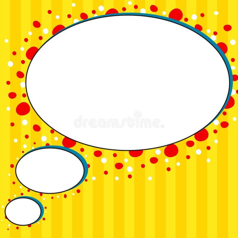 Fundo cômico da bolha da conversa do amarelo do estilo ilustração stock