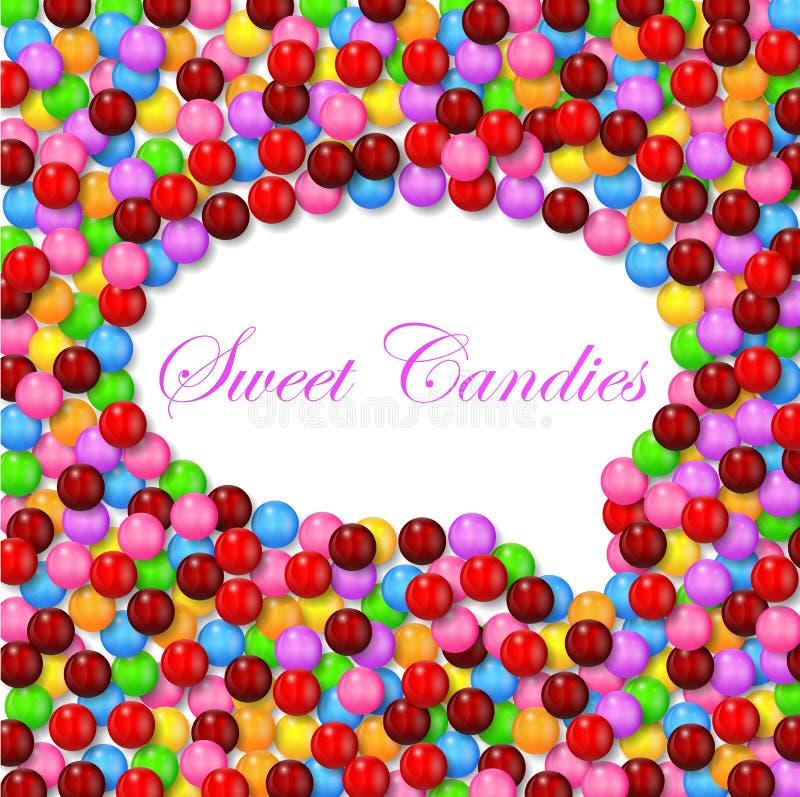 Fundo cômico da bolha do estilo com os vários doces doces no quadro ilustração stock