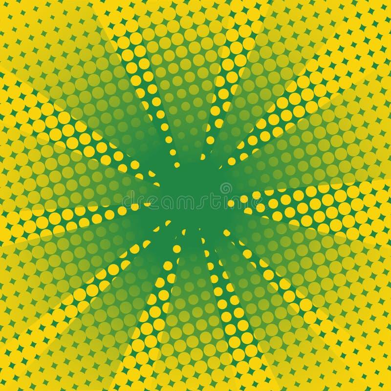 Fundo cômico do verde amarelo dos raios retros ilustração stock