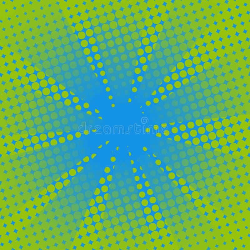 Fundo cômico do verde azul dos raios retros ilustração stock
