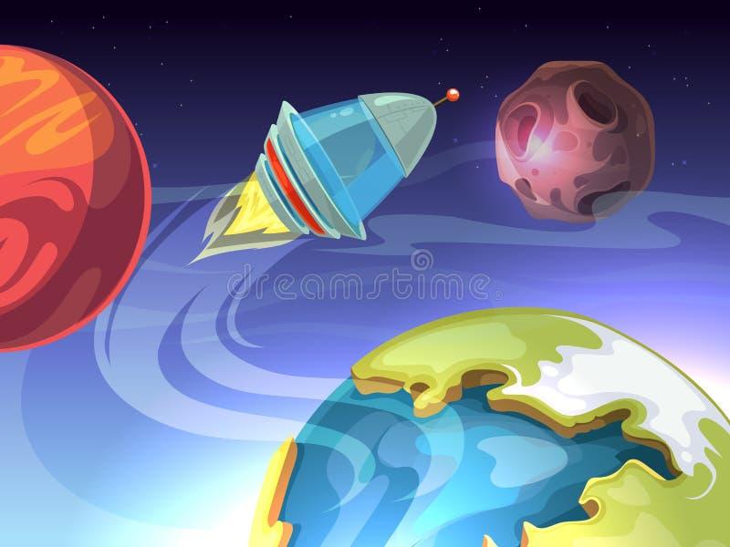 Fundo cômico dos desenhos animados do vetor de espaço com nave espacial e planetas ilustração royalty free