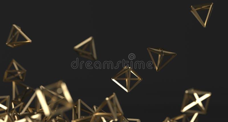 Fundo caótico abstrato das pirâmides do ouro ilustração stock