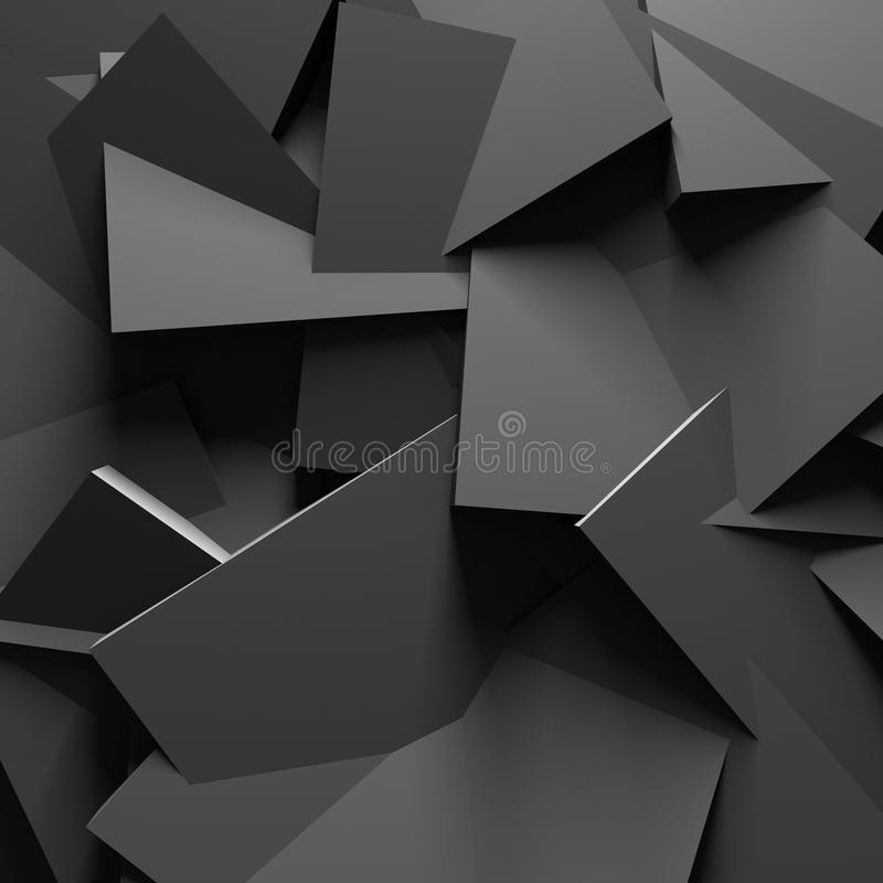 Fundo caótico escuro da parede da textura do projeto ilustração stock