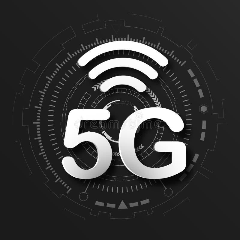 fundo celular do logotipo do preto de uma comunicação móvel 5G com linha transmissão da rede global da relação Transformação de D ilustração stock