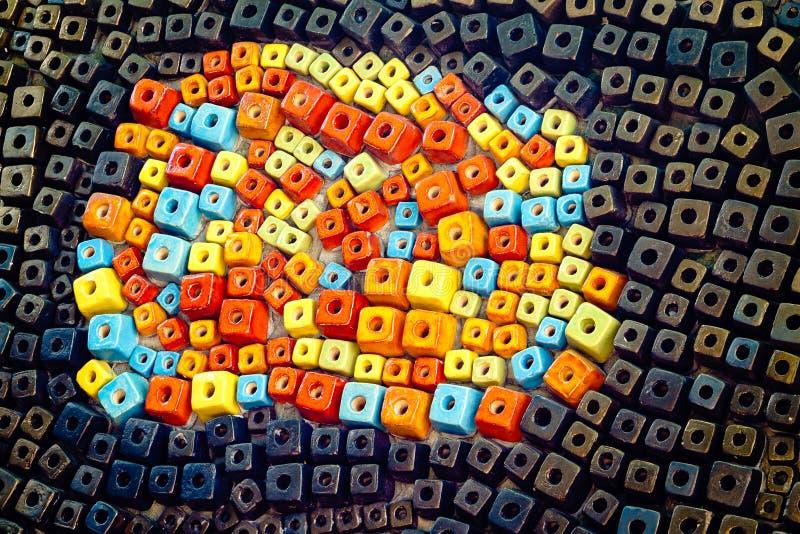 Fundo cerâmico colorido da textura do cubo fotos de stock