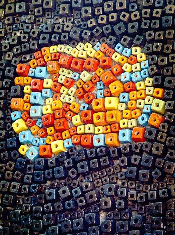 Fundo cerâmico colorido da textura do cubo imagem de stock