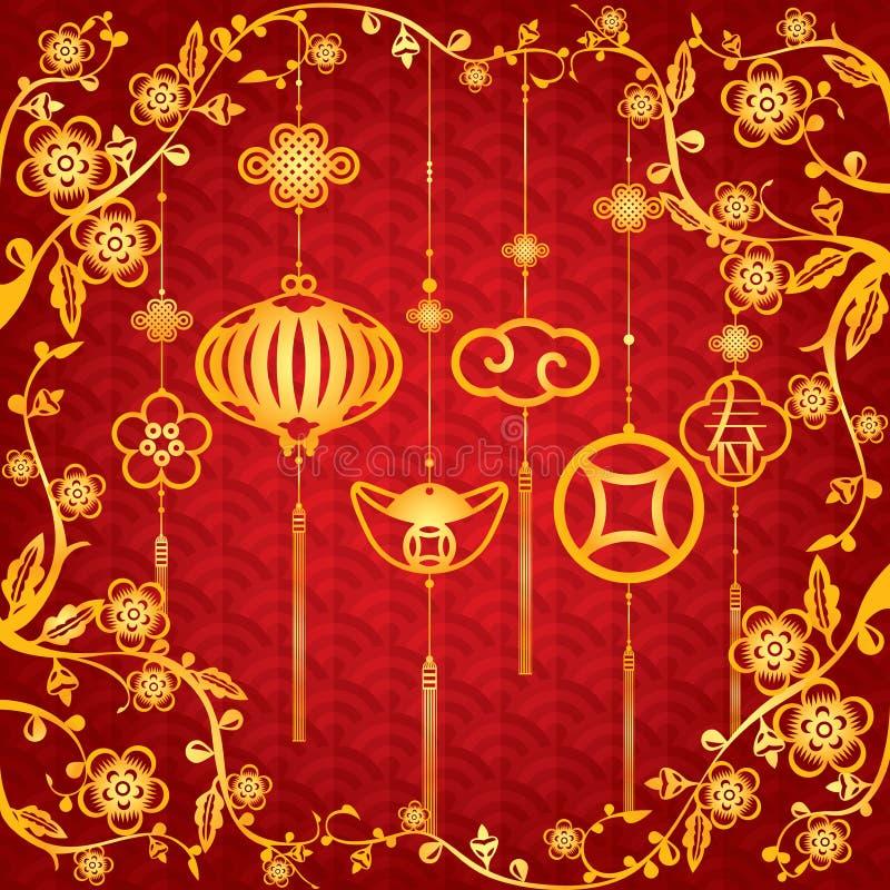 Fundo chinês do ano novo com decoração dourada ilustração royalty free