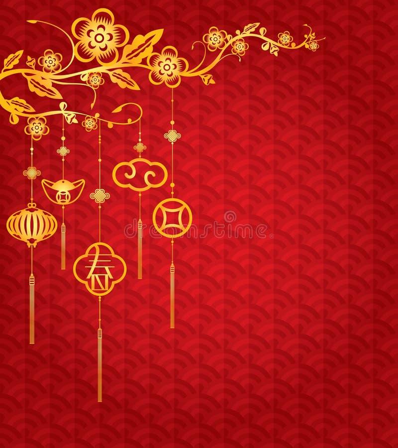 Fundo chinês do ano novo com decoração dourada ilustração do vetor