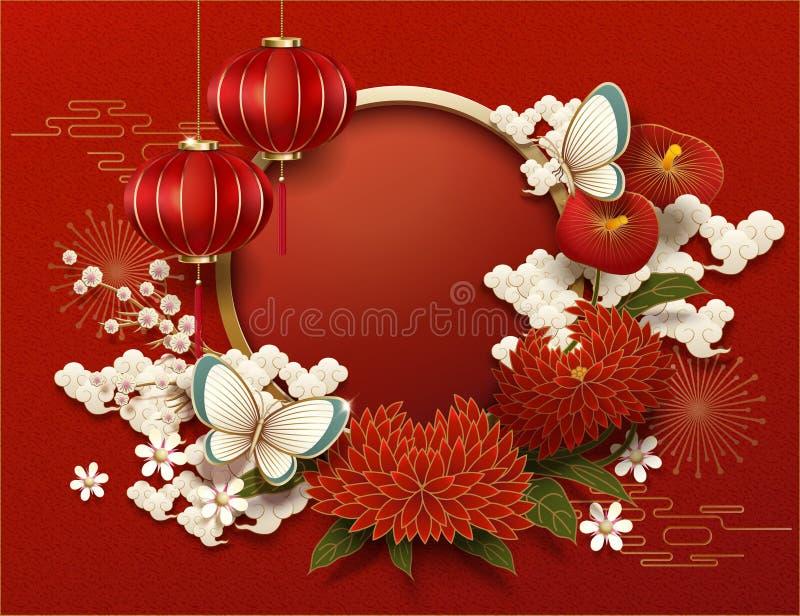 Fundo chinês do ano novo da placa ilustração royalty free