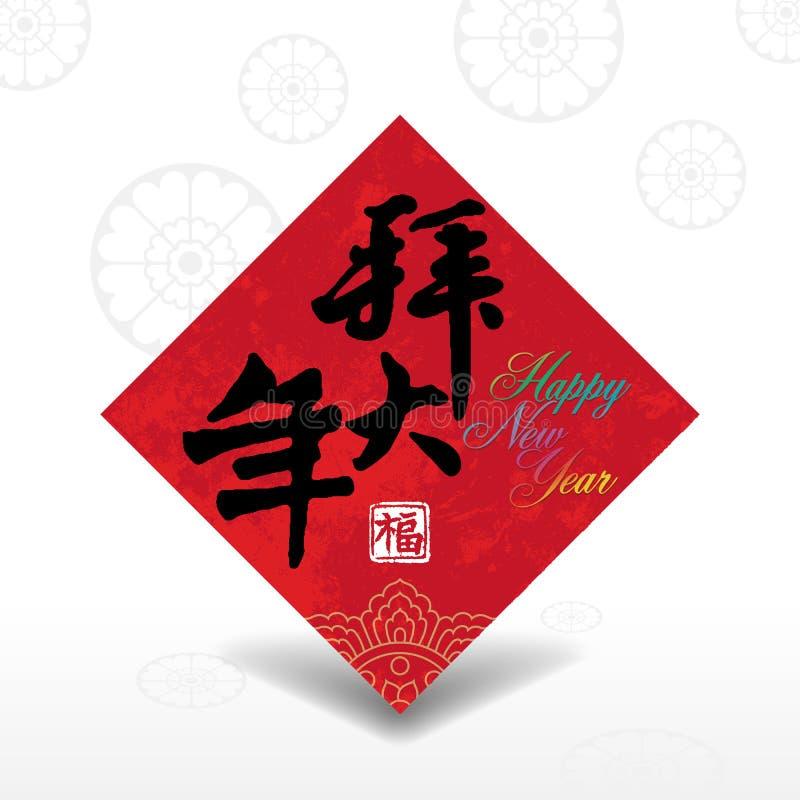 Fundo chinês do cartão do ano novo ilustração royalty free