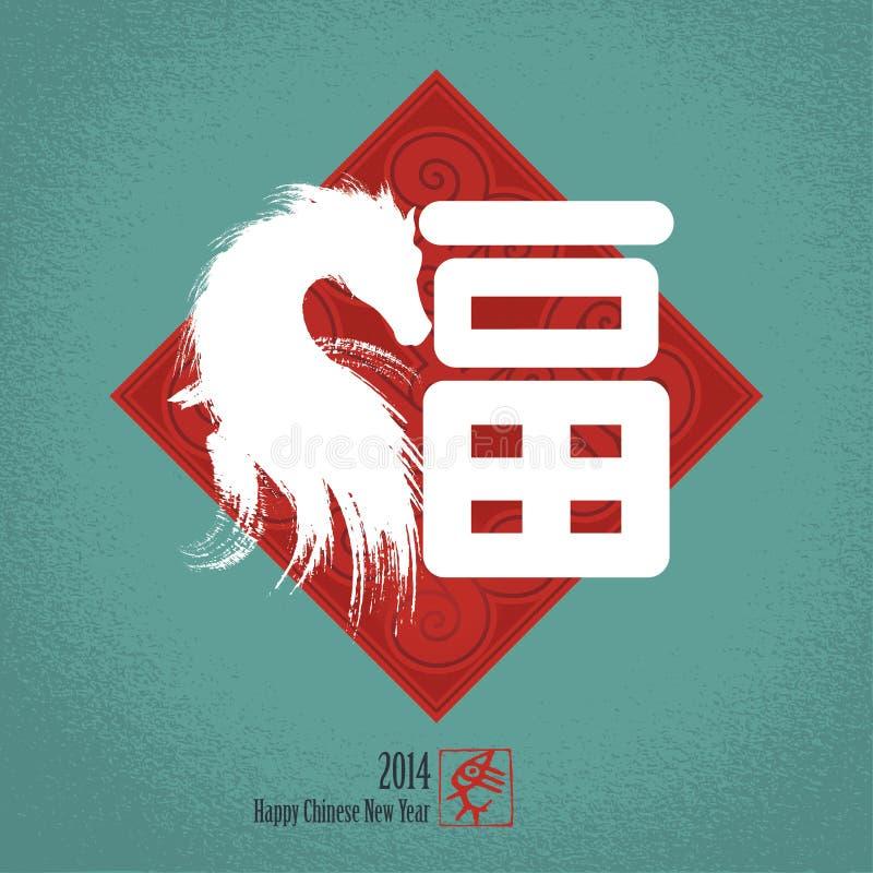 Fundo chinês do cartão do ano novo: Caráter chinês para ilustração do vetor