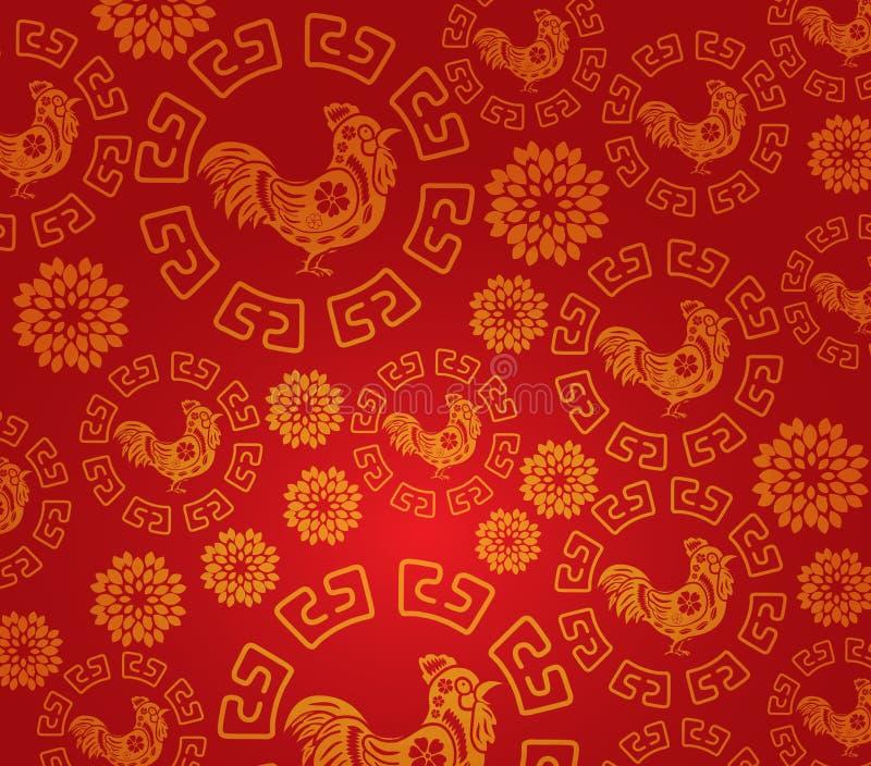Fundo chinês do teste padrão do galo do ano novo ilustração royalty free