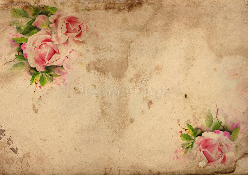 Fundo chique gasto das rosas do vintage ilustração royalty free