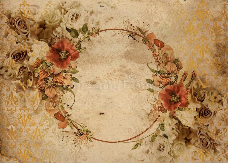 Fundo chique gasto do vintage das rosas ilustração royalty free