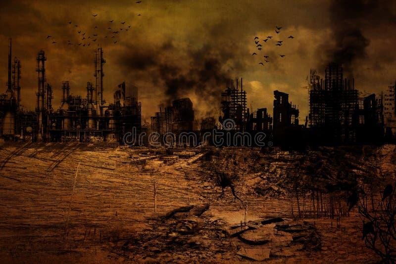 Fundo - cidade destruída ilustração royalty free