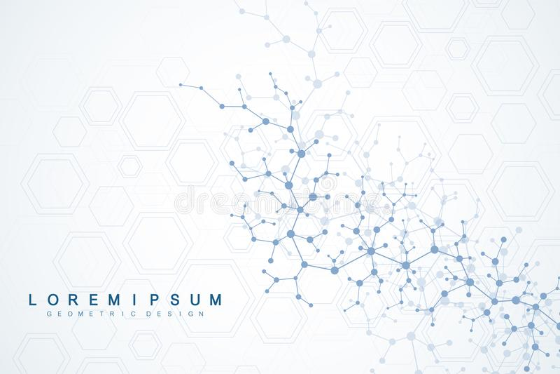 Fundo científico da molécula para a medicina, ciência, tecnologia, química Papel de parede ou bandeira com as moléculas de um ADN ilustração royalty free