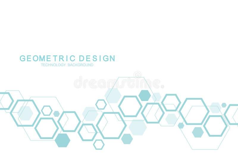 Fundo científico da molécula para a medicina, ciência, tecnologia, química Papel de parede ou bandeira com as moléculas de um ADN ilustração do vetor