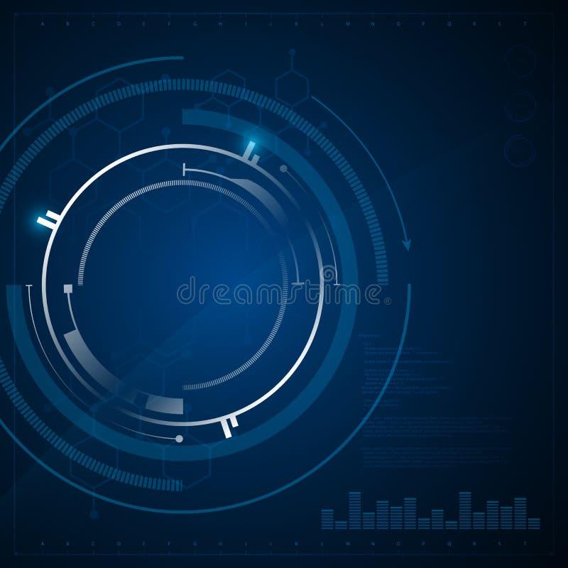 Fundo científico do conceito da inovação da tecnologia circular abstrata do teste padrão do hexágono ilustração do vetor