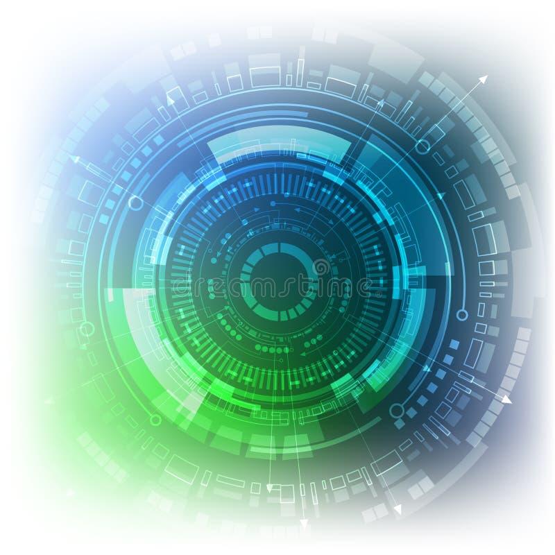 Fundo científico do conceito da inovação da tecnologia do projeto do fi do sci molecular abstrato do teste padrão do hexágono Ilu ilustração stock