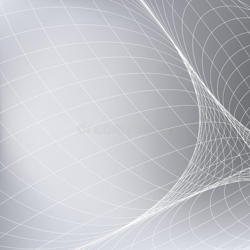 Fundo cinzento abstrato com rede Linhas da curva no espaço que simula uma superfície arredondada ilustração royalty free