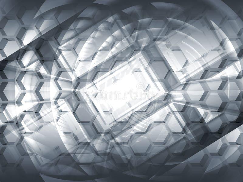 Fundo cinzento abstrato do conceito 3d da olá!-tecnologia ilustração royalty free