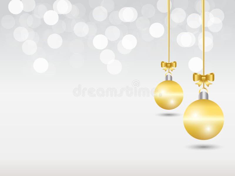Fundo cinzento branco do Natal do bokeh do inclinação Bola decorativa de suspensão do ouro dois com curva dourada da fita ilustração royalty free