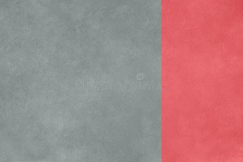 Fundo cinzento da textura do muro de cimento com beira coral cor-de-rosa foto de stock