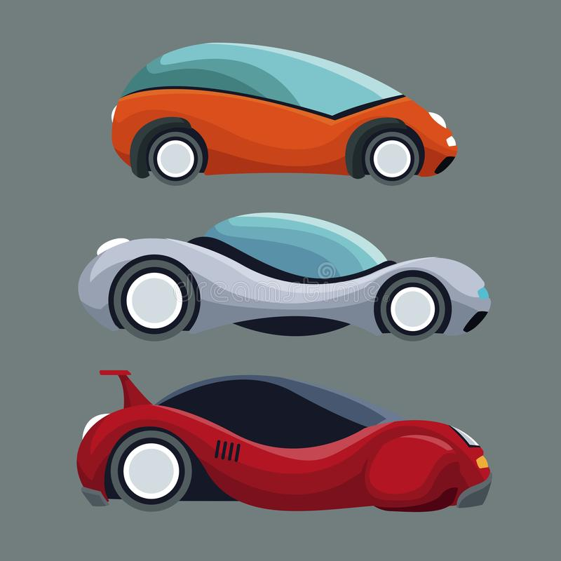 Fundo cinzento de veículos modernos futuristas do carro do grupo colorido ilustração stock